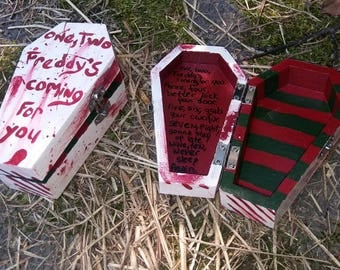 handpainted blood-splatter wooden coffin