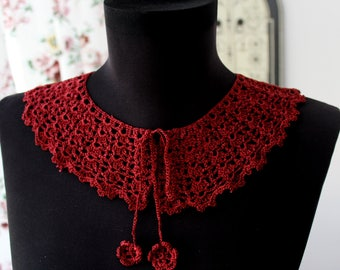 Red collar, Crochet vintage collar, Lace choker necklace, Peter Pan Collar, Romantic gift, Lace crochet collar