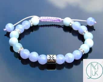 Pisces Blue Lace Agate Aquamarine Birthstone Bracelet 7-8'' Macrame Healing Stone Chakra Reiki With Pouch FREE UK SHIPPING