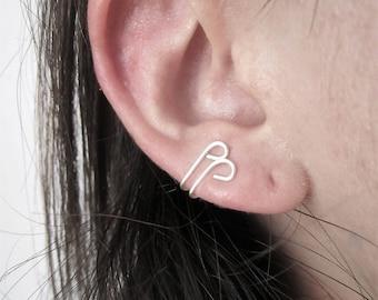 Ear cuff - lobe jewelry - sterling silver - fake piercing