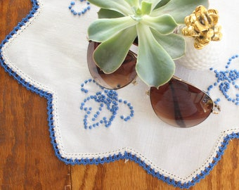 Vintage Tea Linen, Blue & White Table Linen