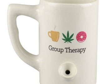 FREE SHIPPING in USA // Ceramic Porcelain Group Therapy Coffee Water Novelty Pipe Mug // Coffee / Weed / Donut // Gift //