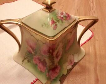 Lanternier Jar Pot with Lid Vintage Limoges France Floral Signed