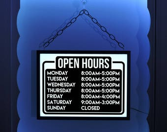 Open Hours Business Sign, Open Window Sign, Open Business Hours, Open Sign, Open Hours, Lighted Open Sign, Business Sign, Open Closed Sign