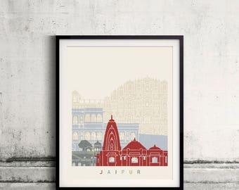 Jaipur skyline poster - Fine Art Print Landmarks skyline Poster Gift Illustration Artistic Colorful Landmarks - SKU 2478