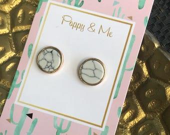 Marble Studs, Stud Earrings, Marble Earrings, Studs