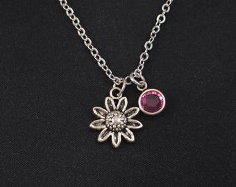 silver daisy necklace, sterling silver filled, birthstone necklace, bridesmaids gifts, flower charm pendant,blooming flower,flower girl gift
