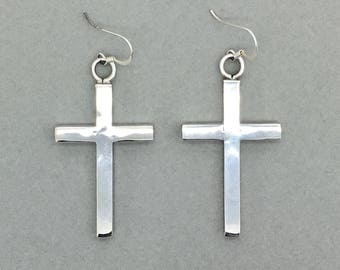 Large Vintage Sterling Silver Cross Drop Earrings, Statement Silver Cross Earrings, Large Crucifix Silver Earrings
