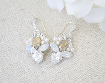 Swarovski opal wedding earring, Crystal and pearl dangle earring, Unique champagne bridal earring, Bridesmaid earring