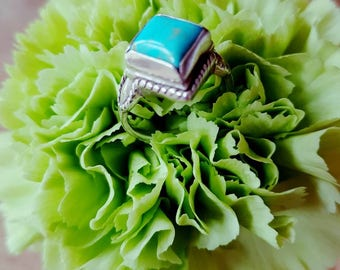Vintage silver and turqoise ring size J 1/2 . Boho rings - bohemaian jewellery