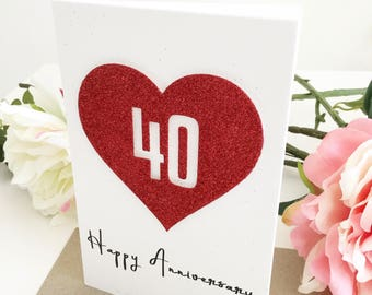 40th Anniversary Card, Ruby Anniversary Gift, Gift For Couples, 40 Year Anniversary Couples Gift, Parents 40th, Personalised Gift, Red