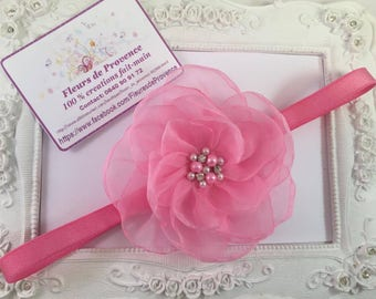 Silk flower headband - Pink for girl