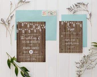 Wedding Invitation Suite, Rustic Wedding Invitations, Country Wedding Invitation, Country, Lights, Rustic, Printed Invitations