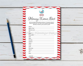 Mommy Knows Best, Baby Shower Game, Chevron Game, Neutral, Aqua Blue and Red, Vintage, Stroller, Games, Printable, Instant Download T636G