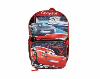 Personalized Cars 3 Backpack with Detachable Lunch Kit - 16 Inch