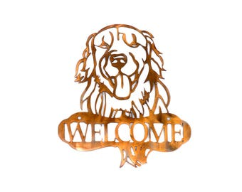 Golden Retriever Welcome Sign(Larger Size) - CAN BE CUSTOMIZED!