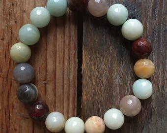 Amazonite, Red Jasper + Sunstone |Spiritual Junkies | Chunky 10 mm | Yoga + Meditation | Stackable Mala Bracelet