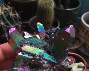 Flame Aura Quartz Crystal Cluster | Spiritual Junkies | Reiki Love Infused | Rainbow Titanium Electroplated | Healing Crystal | Gemstone