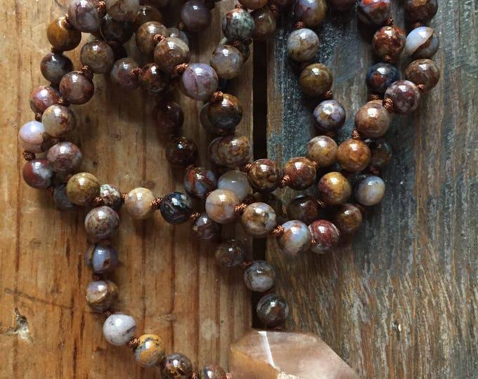 Pietersite + Sunstone Mini Mala | Rainbows | 108 Bead | 6 mm | Handknotted | Spiritual Junkies |Yoga + Meditation