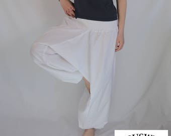 Plain Harem Pant Cotton White