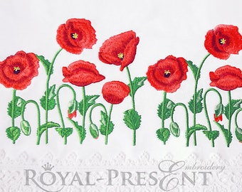 Machine Embroidery Design Poppy border - 3 sizes