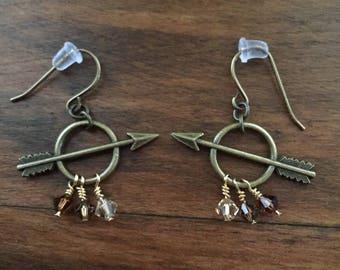 Arrow Earrings, Arrow Jewelry, Archery Jewelry, Archery Earrings, Bronze Arrow, Bronze Earrings - Bullseye Earrings (bronze/brown)