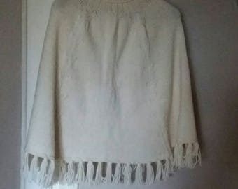 wool poncho ecru Turtleneck