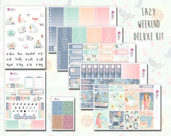 Deluxe Kit - Lazy Weekend - Relaxation, Self Care, Weekly Sticker Kit. Planner stickers for ECLP, Happy Planner, Personal Planner, TN etc