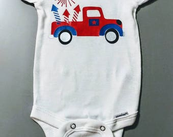 July 4th Onesie. First 4th of July.   Baby Clothes. Parade. Fireworks.