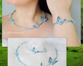 "Wedding white and blue butterfly ""Inaë"" Bracelet and necklace"