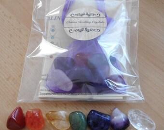 Chakra Healing Crystals - 7 Stone Chakra Set with FREE Chakra Bookmark (Laminated)