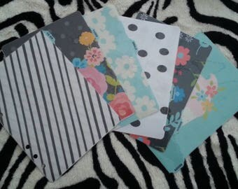 """Set 6 dividers for """"Home Planner set"""" for HP classic, A5/large planner, Personal/Medium planner"""