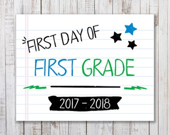 Printable  First Day of School Sign,  Back to School Printable, Boys or Girls Photo Prop, First Grade Sign, Back to School Photo Prop, 1st