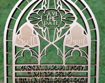 Laser Cut Save The Date Chapel Invitation