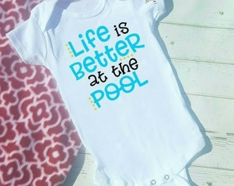 Poolside Life is better at the pool Bodysuit or Tshirt infant kids  Shirts, Hip Kids Shirts, Beach Shirts, Vacation Shirts, Water