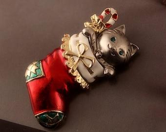 Danecraft Christmas Kitty in a Stocking Brooch, Danecraft Cat Pewter Enamel Xmas Pin