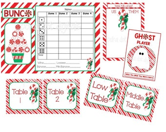 BUY 2 Get 1 FREE CHRISTMAS Candy Cane Complete Set Bunco Score Card Sheet Matching Table Numbers Tally Sheet Printable Digtal File Download