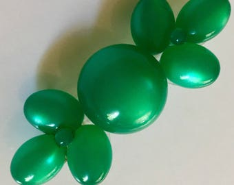 Sale! Vintage plastic lucite thermoset brooch brilliant green moon glow beads unique design hard to find