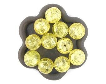 x 20 yellow Crackle Glass 10mm (56 c) round bead