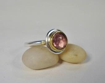 Rose Cut Pink Tourmaline Ring