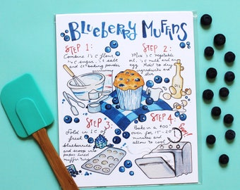 Kitchen Art Print, Blueberry Muffin Recipe, Kitchen Wall Art, Recipe Card, Bakery Print, Food Print, Watercolor Fruit, Illustrated Recipe