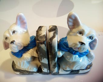 Vintage White Scotty Dog Pair of Porcelain Bookends, Made in Japan