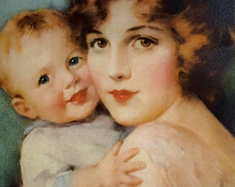 """Reproduction Vintage print """"Baby Mine"""" in Antique Frame No.2"""
