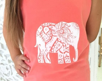 Girl's Elephant Tank Coral