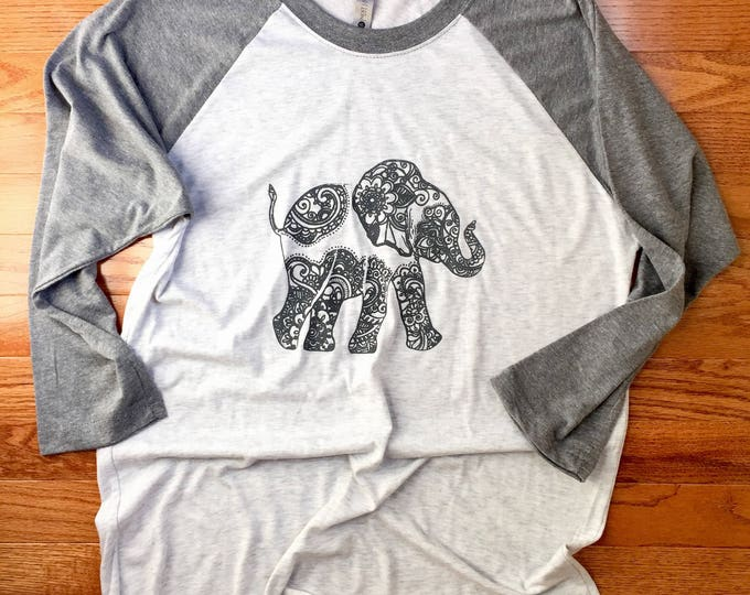 Lucky Up-Trunk Bohemian Elephant Gray Baseball Raglan