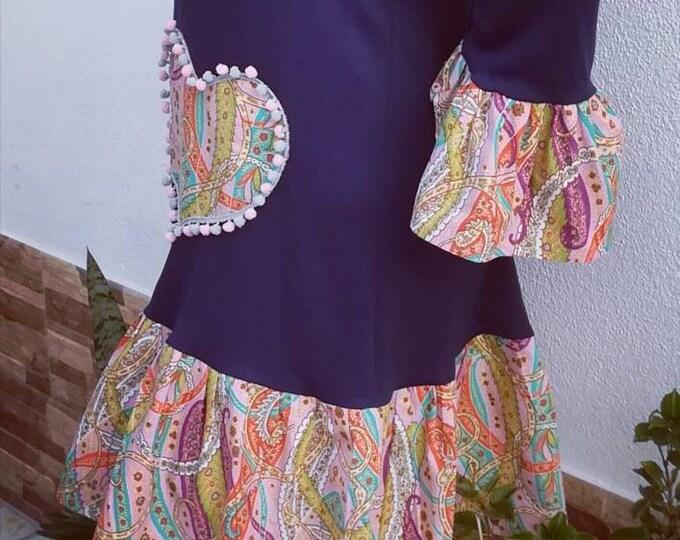 Heart dress, women's clothing, dresses, women dress, dress in cotton, new collection, Autumn-winter, Handmade dress, blue dress