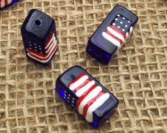 1 | American Flag Square Barrel Beads | Glass Beads | Hand Painted | 4th of July | Patriotic Jewelry