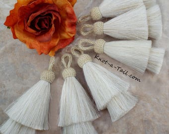 All WHITE, Horsehair tassel,  Double layer, horsehair tassel, 4 inch x-thick, horsehair tassel, boho tassel, necklace, Western Accessory