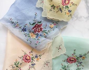 Vintage Handkerchief, Something Blue Hankie, Vintage Hankie, Bridal Handkerchief, Embroidered Hankie