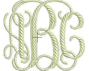 Rope Monogram Embroidery Pattern